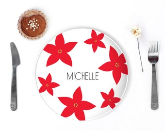 Holiday Dinnerware Sets Christmas Poinsettia Flower Kids Name Plate Personalized Kids Gift Holiday Decor Custom Personalized Plate  sc 1 st  Etsy & Personalized Kids Melamine Plate Swiss Cross Dinnerware
