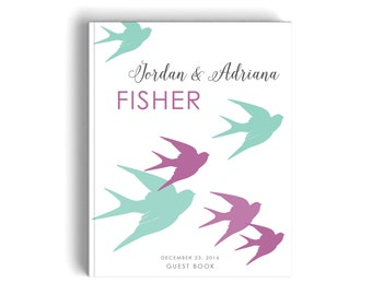Bird Wedding Guest Book Personalized, Modern Guestbook Signature, Custom Flying Sparrow Aqua and Violet Wedding Keepsake Sign In Book
