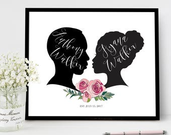 Wedding Guest Book Alternative Sign, Roses Flower Wedding Welcome Signs, Personalized Silhouette Reception Poster Guestbook Ideas