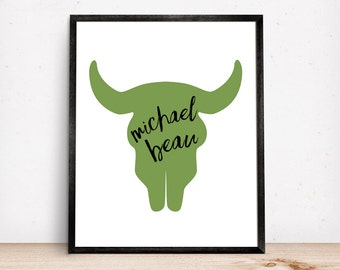 Western Name Signs for Kids Cow Skull Personalized Name Sign Cowboy Themed Kids Room Wall Art Boys Room Decor Custom Name Western Nursery