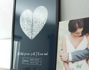 Guest Book Alternative Couples Wedding Fingerprint Heart Guestbook Wedding Ideas and Unique Modern