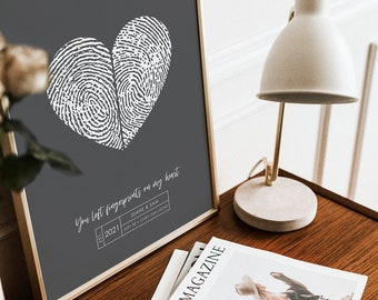 Couples Wedding Fingerprint Guest Book Alternative with Your Heart Thumbprint Unique Modern Guestbook Wedding Ideas