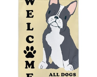 Welcome Dog Paw Print Yard Garden Flag   Fun Welcome Flag   Dog Lover Gift Home Welcome Sign   Frenchie Dog Gift