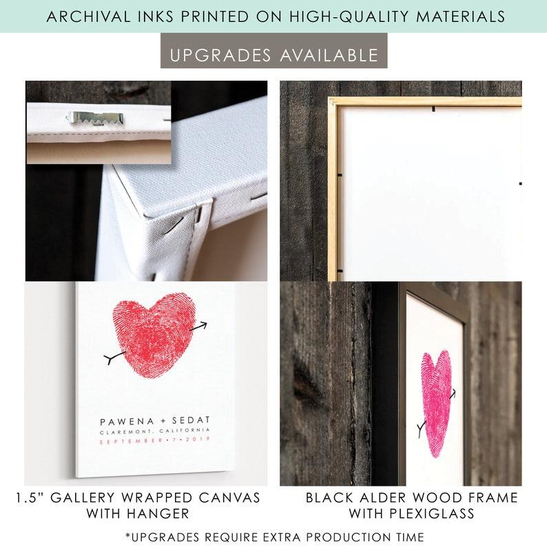 Custom Fingerprint GuestBook Wedding Sign In Heart Thumbprint Personalized Wedding Guest Book Alternative Canvas Reception Guestbook Idea