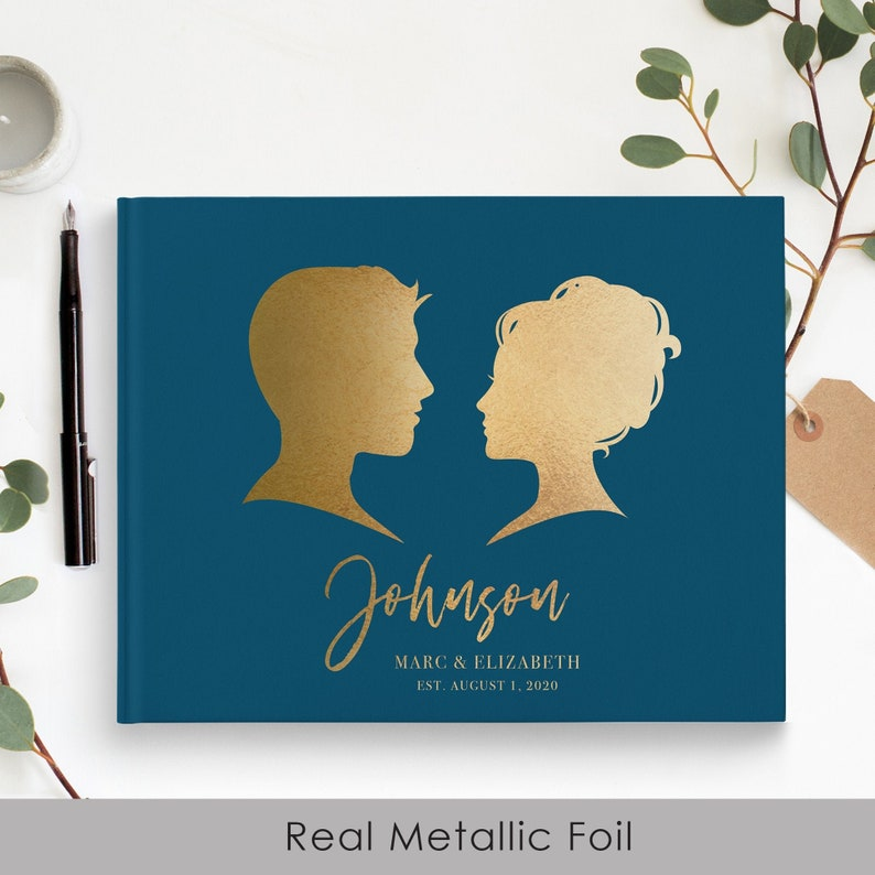 Navy Real Gold Foil Guest Book Wedding Gold foil Guest Books Custom Guestbook Modern Wedding Script Wedding