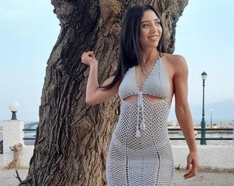 silver dress, silver crochet dress , crochet dress , sexy dress , evening dress , crochet fashion dress