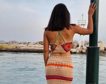 crochet skirt, crochet top , boho top , boho skirt . boho look , summerwear, bohemian fashion, boho fashion, summer fashion, bohemian
