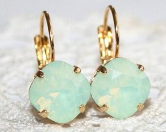 Mint Earrings,Seafoam Chrysolite Opal,Holiday Gift,Mint Opal Earrings,Swarovski,Mint Crystal Rhinestone Earring,Boho,Mint green earring 10mm