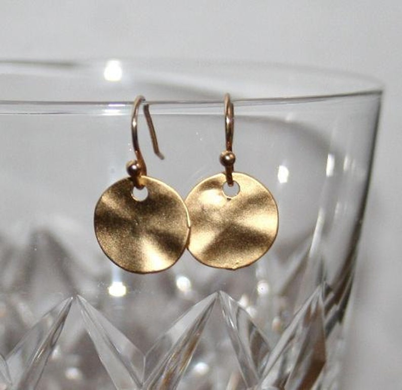 c6e448e11 Gold Disc Earrings GoldCircle studsValentines giftRound   Etsy