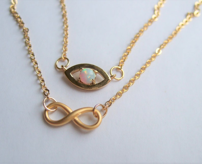 Delicate layer necklace,Unique gifts for Her,Evil Eye necklace and Opal,Eternity necklace,Golden Minimalist necklace,Feminine dainty Jewelry