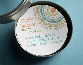 Round business card etsy round and round mod dots 50 customizable round calling cards business cards tags in tin reheart Choice Image