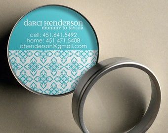 darci mod ornamental 50 custom round calling cards business cards tags in tin - Round Business Cards