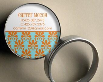 carter mod damask 50 customizable round calling cards business cards in tin - Round Business Cards