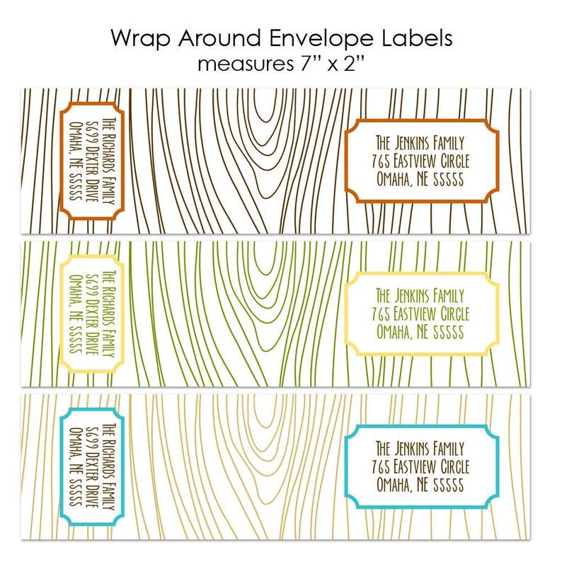 Faux Bois Wood Grain Custom Wrap Around Envelope Labels