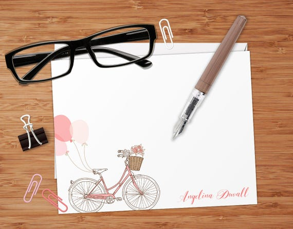 Bicycle With Basket - Set of 8 CUSTOM Personalized Flat Note Cards/ Stationery