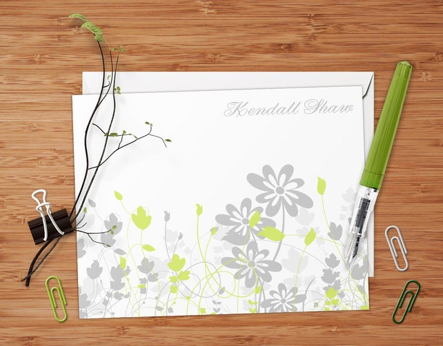 Kendall (Retro Flowers and Swirls) - Set of 8 CUSTOM Personalized Flat Note Cards/ Stationery