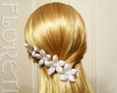 White Small Orchid Stephanotis Pearl Bridal Hair Flower Pins, Set of 10