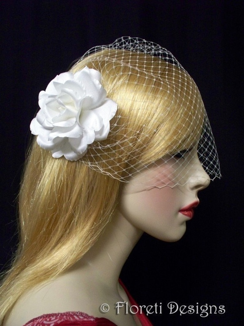 Ready Made Birdcage Wedding Veil Champagne French Bandeau 9in