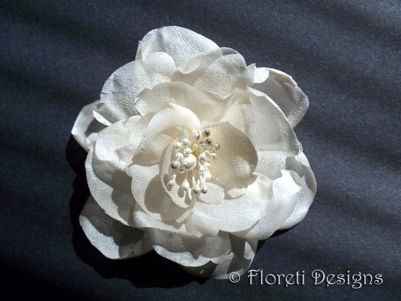 Bridesmaids Gift Bridal Hair Accessory LaLuna Magnolia Handmade Silk Flower Ivory Wedding Veil Hair Flower Mother of the Bride Corsage