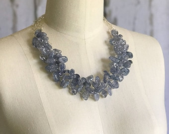 Quartz Necklace, Blue Quartz Necklace, Chunky Necklace, Statement Necklace, Wire Crochet Necklace