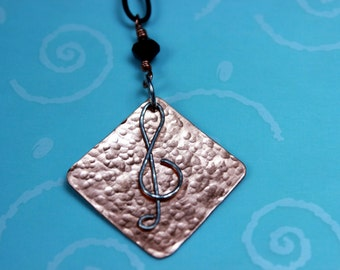 Sterling Silver and Copper G-clef Pendant