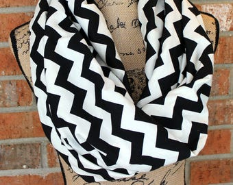 Black and Off White Cream Chevron Cotton Knit Infinity Scarf Gift Under 20 Dollars Ready to Ship