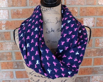 Blue, Pink, and White Horse Cotton Infinity Scarf Gift Under 20 Dollars Ready to Ship