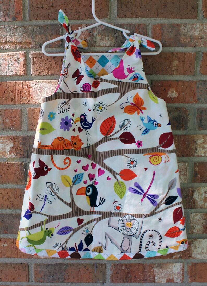Bird Wildlife Zoo Lion Animal Reversible Argyle Girl/'s Toddler Dress Size 4T Ready to Ship