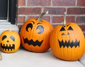 Halloween Jack O Lantern Pumpkin Decorating Kit- Vinyl Decals