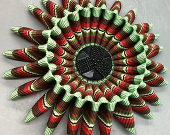Pale Green, Maroon, Red, Black  and White Folded Cocarde Cockade Applique Millinery Military Reenactment