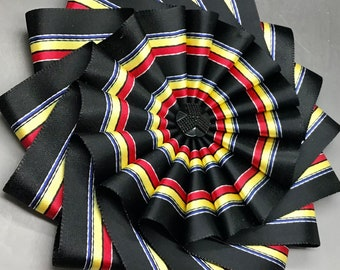 Large Black Satin With  Yellow, Red and  Blue Stripes Wheel Cocarde Appliqué