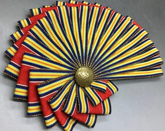 Red Yellow and Blue Chambered Nautilus Cocarde Cockade Millinery,  Military Reenactment