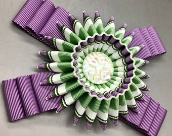 Lavender, Green and White Folded Cocarde Cockade Applique Millinery Military Reenactment