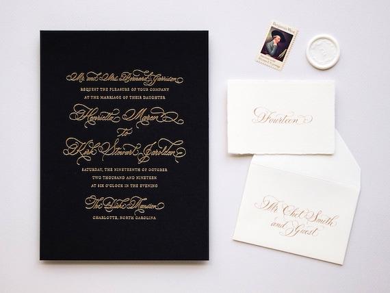 Classic Handwritten Calligraphy Wedding Invitation Custom Design foil letterpress
