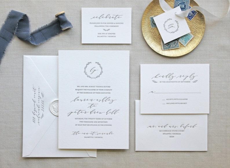 Serenbe Letterpress Wedding Invitation