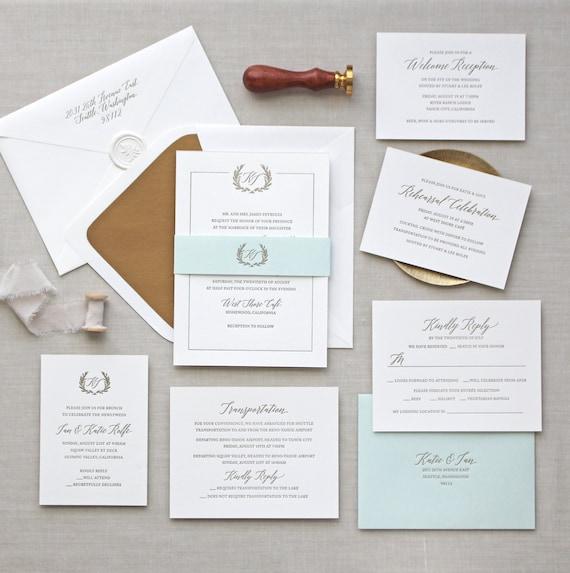 Hochzeitseinladung Buchdruck - Jardin Design - Monogramm, Kalligraphie,  traditionell, Elegant, schlicht, klassisch, Skript, Custom, Ziel
