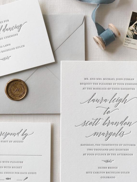 Letterpress Wedding Invitation DEPOSIT Wedding invitation Elegant Wedding Invitations Wedding invitations Classic Wedding Invitation