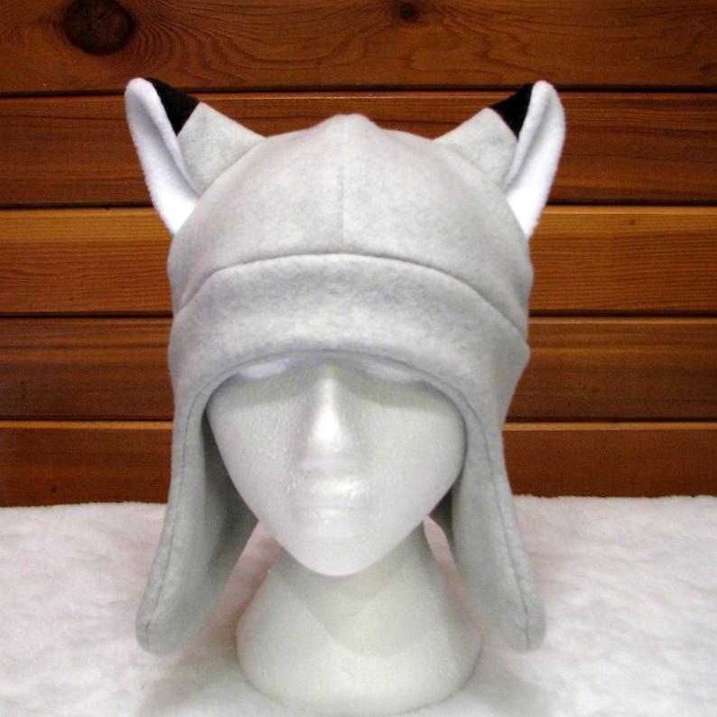 a09087019a5 Silver Fox Ear Hat Light Gray Fleece Animal Hat with Ear