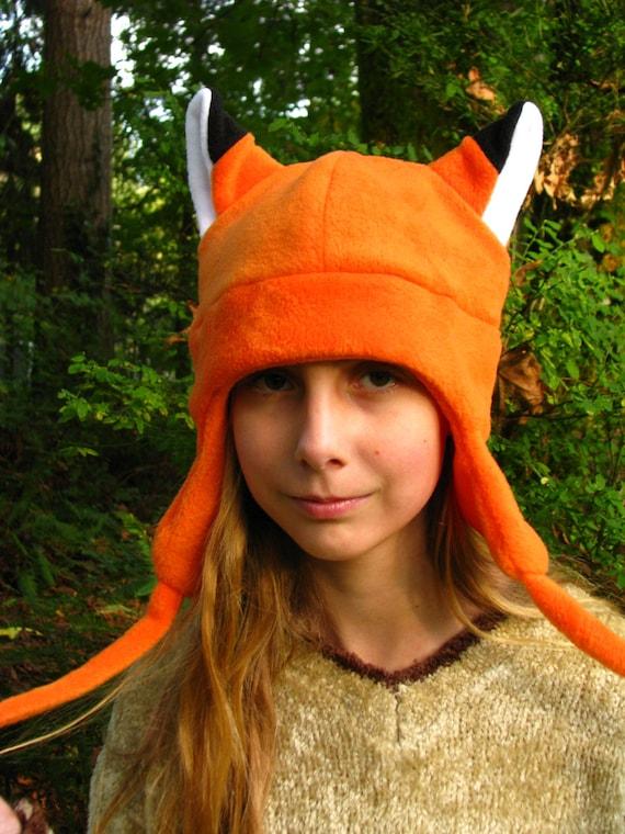 ecfd83358df Orange Fox Hat Aviator Style Naruto Ear Flap Fleece by