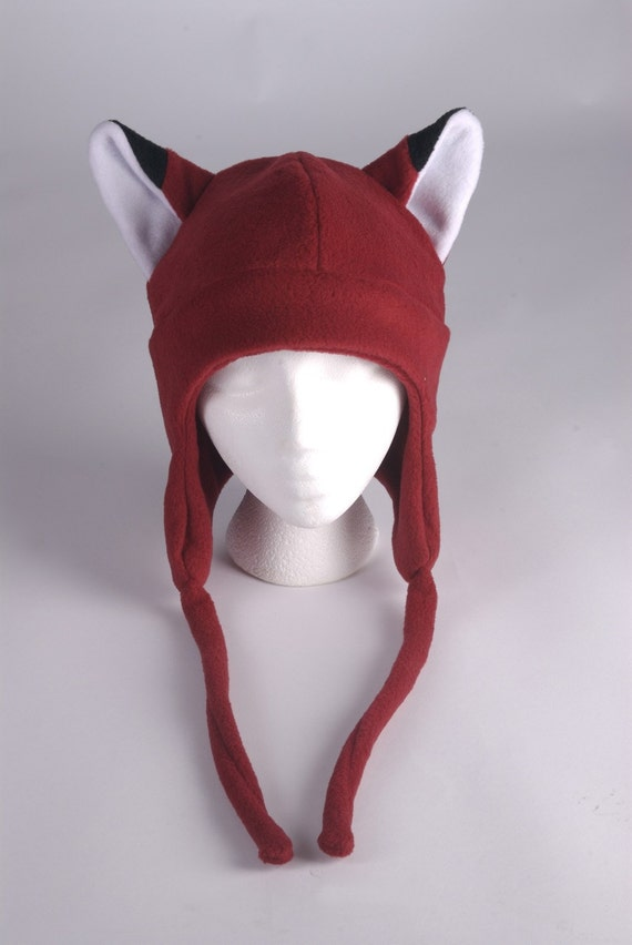 60e019fa04a Fox Hat Dark Red Fleece Earflap Womens Mens Aviator Hat with