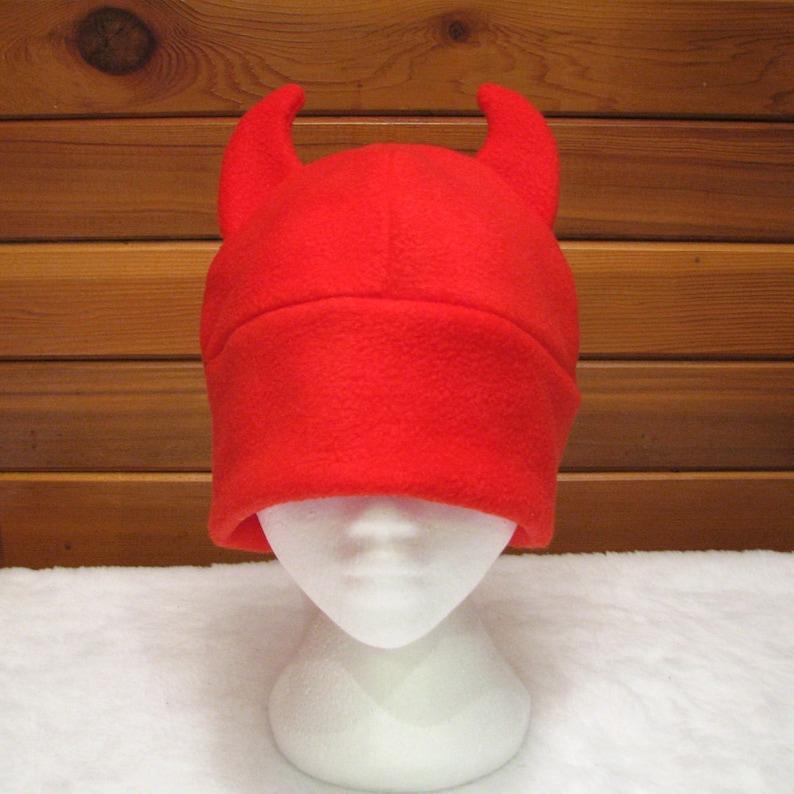 8eabc669d86 Red Devil Hat Red Fleece Devil Horn Beanie by Ningen