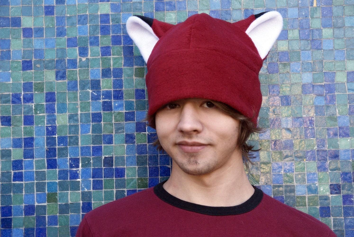 a6649eabac1 Animal Ear Hat Dark Red Fleece Fox Hat by Ningen Headwear