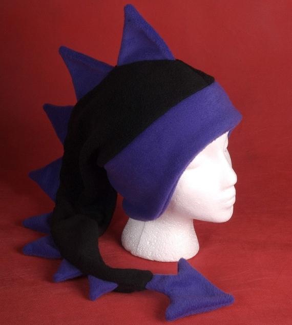 414fee2f37d Dragon Hat Black   Purple Fleece Dinosaur Ear Flap Animal