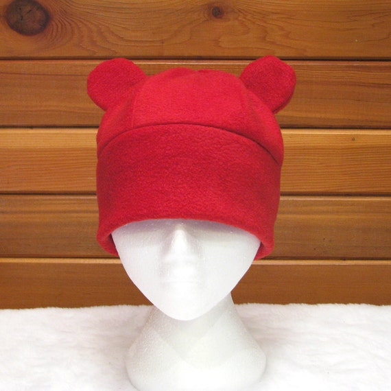 16fd747044a Red Bear Hat Fleece Gummy Bear Hat Womens Mens Hat by Ningen
