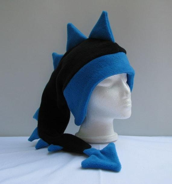 71891387f5a Fleece Dragon Hat Black   Blue Mens Womens Dinosaur Hat by