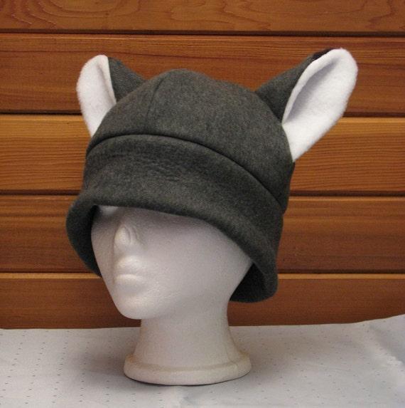 3a556fb4970 Fox Hat Gray Fox Ear Fleece Mens Womens Hat by Ningen