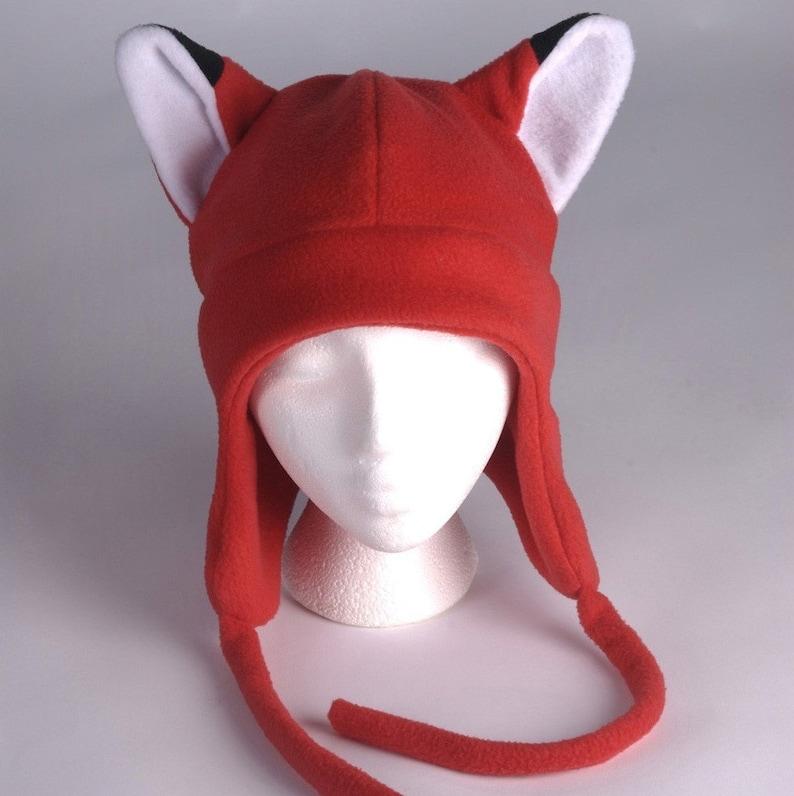 966eb51afa7 Fleece Fox Hat Red Aviator Style Fox Ear Hat by Ningen
