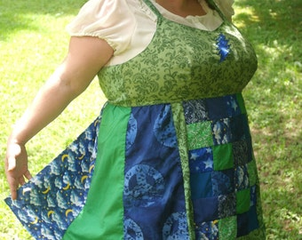 CUSTOM ORDER Made Just for You Goddess PLUS Size Hippie Top Upcycled Patchwork Apron Top Fairy Corset Tank Top Plus Size 22-28 by KnottyMama
