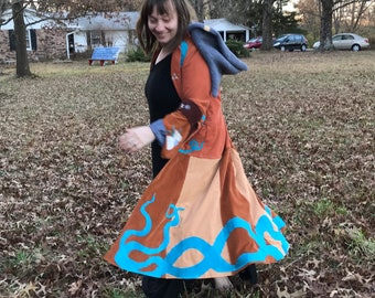 Ocean Siren Corduroy Cosmic Duster Jacket Upcyled and Handmade Pirate Coat w Tentacles and Full Skirt w antique Buttons by KNOTTYMAMA size M