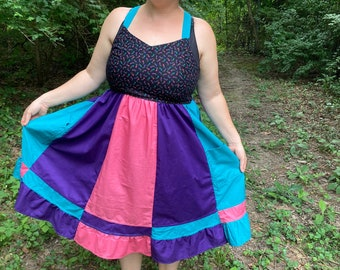 Jewel Toned Star Sun Dress Vintage UPcycled Apron Top Hippie Dress w/ Corset Back HANDMADE by KNOTTYMAMA Sun Dress PLUS Size 22 D Cup